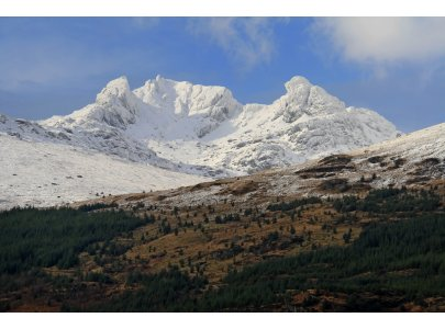 The Cobbler in winter from Glen Loin Woods