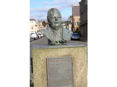 This bust of TV pioneer John Logie Baird is displayed on Helensburgh's sea front promenade